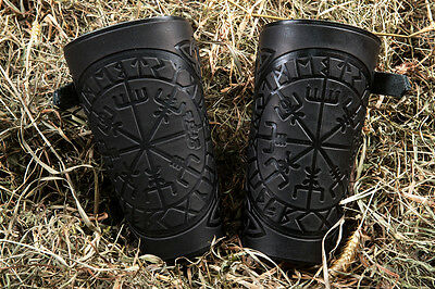 Leather Cuff LARP Bracers Nordic Celtic Vikings with Compass design. A pair !