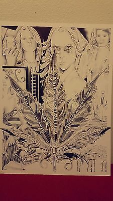 art drawing prison pen 15x20illustration board weed marijuana gangter female ori