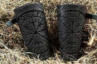 Leather Cuff LARP Bracers Nordic Amulet Celtic  with Scales design. A pair !