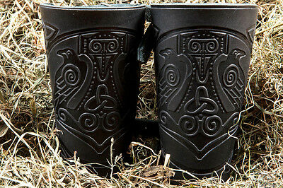Leather Cuff LARP Bracers Nordic Amulet Celtic with Thors hammer design. A pair!