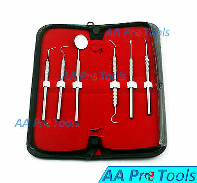 6 Pcs Dental Scaler Pick Stainless Steel Tools with Inspection Mirror Set/Kit