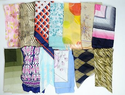 Job Lot 49 Pieces Vintage Retro Scarves Patterned Various Grade A