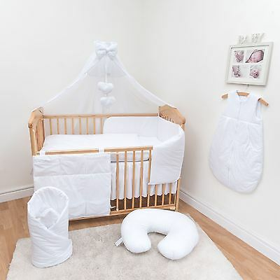 10 Pc Baby Bedding Set with Bumper and Canopy (Fits 140x70 cm Cot) - Plain White