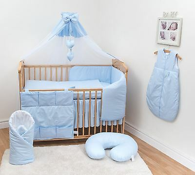 10 Pc Baby Bedding Set with Bumper and Canopy (Fits 140x70 cm Cot) - Plain Blue