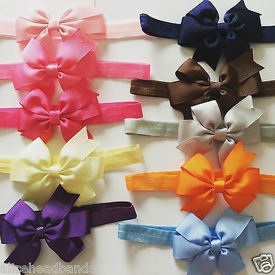 Baby Girls Bow Headband Hairband Soft Elastic Band Variety Colours Summer +Lot