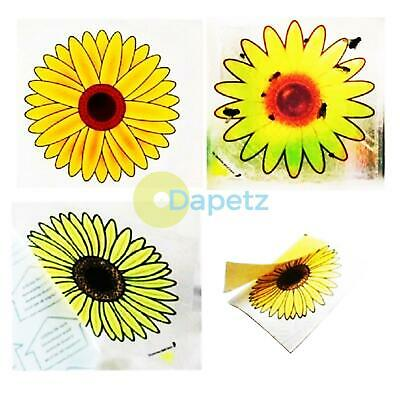 4 Fly Traps Fly Killer Sunflower Window Sticker Trap Stickers Insect Insects New