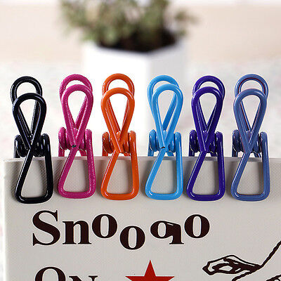 10x Washing Metal Hanger Clamp Laundry Hook Clip Books Clothes Pin Desk Decor
