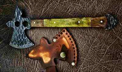 """Damascus steel HAND FORGED BLADE BOWIE , EXOTIC WOOD HANDLE, OVERALL 12"""" INCH"""