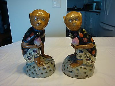 Vintage Chinese Porcelain Famille Rose Pair Lucky Monkeys With Plums Sculptures