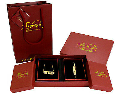 """Arabic Name """"FARAH"""" 18K Gold Plated Jewellery Gift Set For Her Wedding Eid Gifts"""