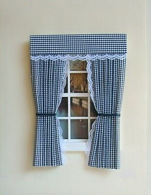 Dolls House Curtains  Navy  Gingham