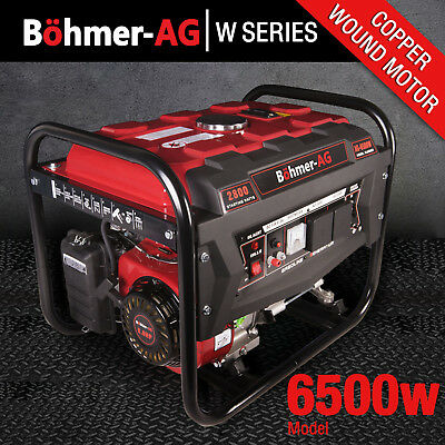 Portable Petrol Generator 6500w Electric - 8HP 2.8KVA - Low Noise Camping Power