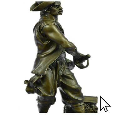Signed Original Pirate With Jewelry Chest And Sword Bronze Sculpture Statue Fi