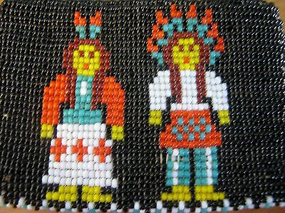 Vintage Native American Style BEADED Zippered Leather COIN PURSE Chief Indian
