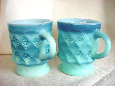 Pair Vintage FIRE KING Blue Kimberly C HANDLE Glass MUGS Anchor Hocking Cups