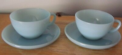 2 Sets Of Blue Delphite Fire King Cup And Saucers - Excellent Condition