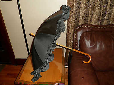 Antique or Vintage Black Umbrella Parasol with Ruffles and Wood Handle