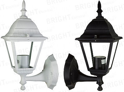 Outdoor Wall Lantern Outside Light Security Black or White 4 Sided Exterior Lamp