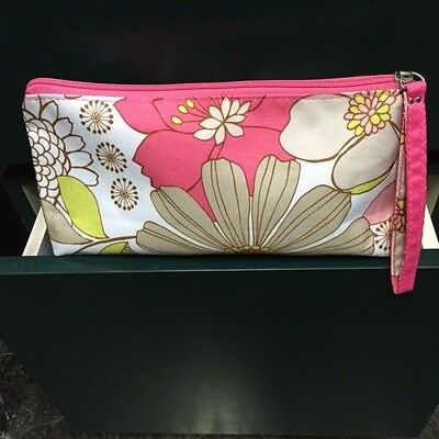 """CLINIQUE Floral Print Polyester Zippered Top Cosmetic Case (NWOT) 10"""" x 5"""" x 3"""""""