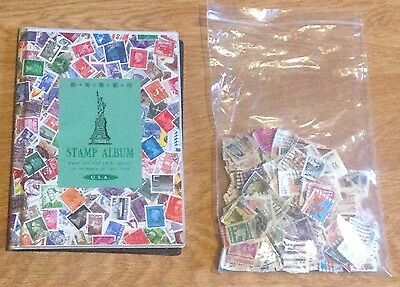 U.S.A. STAMP ALBUM Empty & 300 US STAMPS United States of America Job Lot Bundle