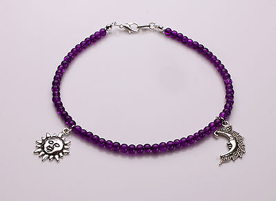 Purple Crackle Glass Anklet with Sun and Moon pendants