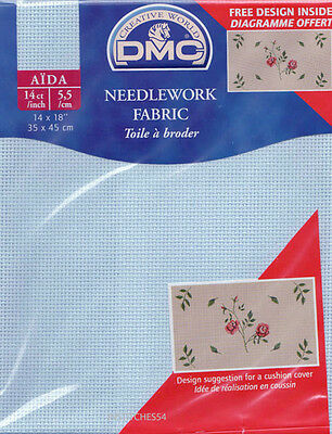 DMC 14 Count  Aida For Cross Stitch  Pale Sky Blue Shade 800