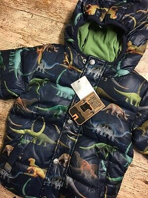 Baby Boys BNWT Navy Dinosaur Printed Puffa Padded Jacket NEXT Age 18-24 Months