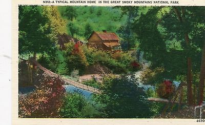 1940s Unused Linen: Typical Mountain Home - Great Smoky Mountains National Park