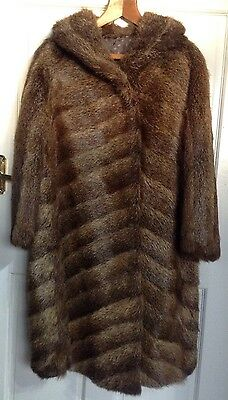 Ladies Vintage Real Fur Coat Size Uk 14 16