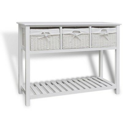 Vintage Console Table Furniture Hallway White Wood Storage Cabinet 3 Baskets New