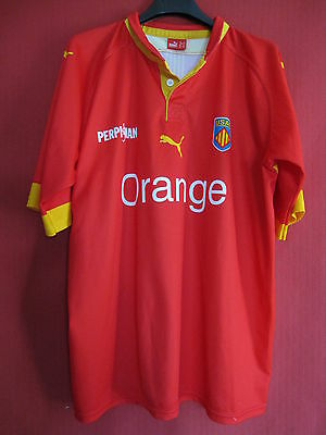 Maillot Rugby USAP PERPIGNAN Orange Vintage Rouge TBE ancien - XL