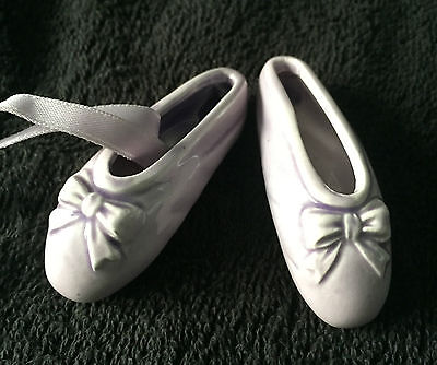 A Pair Of Lilac Vintage Miniature Ballet Slippers - Beautiful Vintage Condition