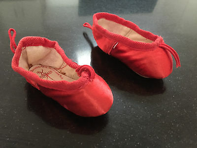 Rare! Pair Of Miniature Red Silk Ballet Slippers By Gamba Of London - Vintage