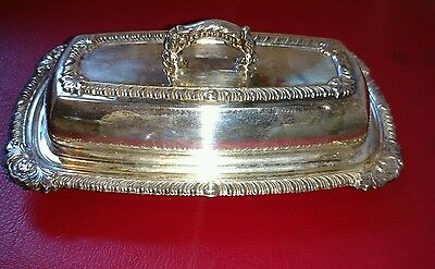 Vintage Silver Plate Butter dish with glass
