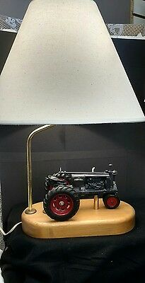 Farm All Tractor Lamp with Shade on a Wood Base