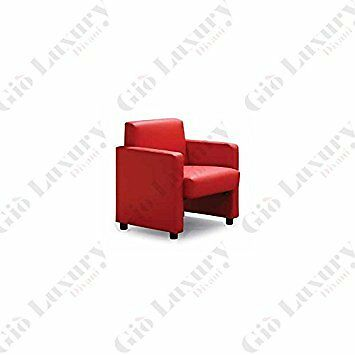 """""""armchair """"""""malmoe"""""""" With Wooden Inner Structure And Finish In Red - 75 X 73 X 8"""