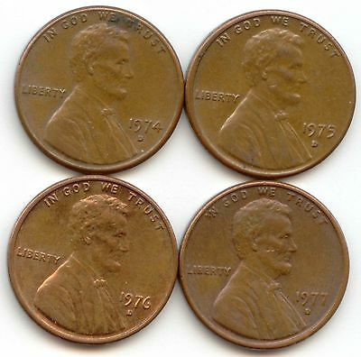 USA 1974D 1975D 1976D 1977D American PENNIES One Cent Coins Lincoln 1c PENNY