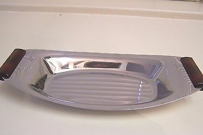 """Vintage GLO-HILL Chrome Tray with Reddish Brown Bakelite Handles - 12"""""""