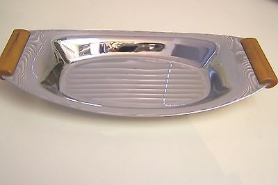 Vintage GLO-HILL Gourmates Chrome Tray with Butterscotch Bakelite Handles