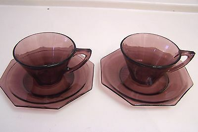 Two MOROCCAN AMETHYST Depression Glass Art Deco Cups and Saucers - GC
