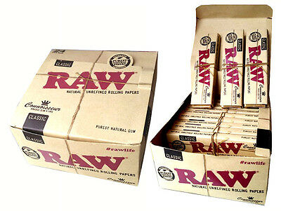 Raw Classic Natural Unrefined Connoiseur King Size Slim Rolling Papers Tips
