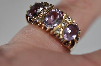 Vintage Amethyst & Diamond 9ct Gold Ring Hallmarked and Signed RJC Size UK N