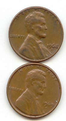 USA 1968D 1969D American PENNIES One Cent Coins Lincoln 1c PENNY 1968 D 1969 D