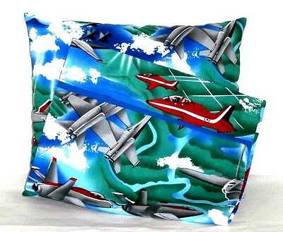 Airplanes Toddler Pillow and Pillowcase set on Blue Cotton AP9-2 New Handmade
