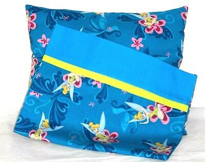 Tinkerbell Toddler Pillow and Pillowcase Turquoise Blue Cotton TB5 New Handmade