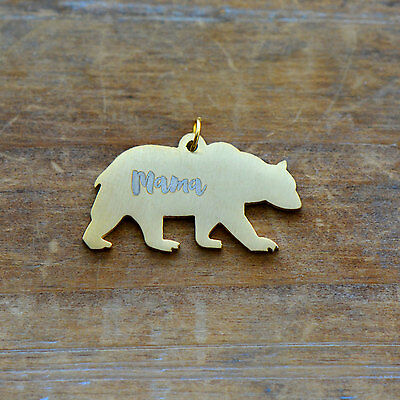 """Engraved """"MAMA"""" Bear Charm Brushed 24k Gold Plated Stainless Steel Pendant"""