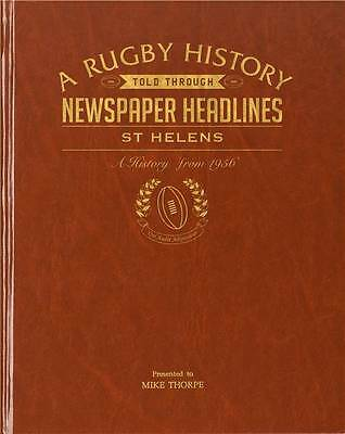 Personalised St Helens Rugby League Club Newspaper Book Memorabilia Gift