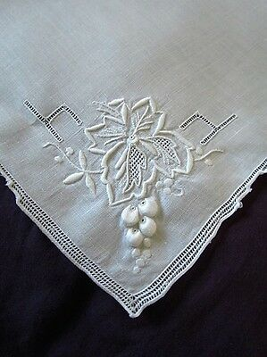 Italian linen Vintage napkins hand embroidered Open work 8 Lot Set Madeira Style