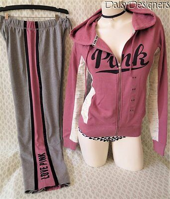 NWT Victoria's Secret PINK Soft Begonia Full Zip Hoodie Boyfriend Pants XS Small
