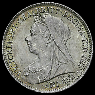 1901 Queen Victoria Veiled Head Silver Sixpence – UNC #3